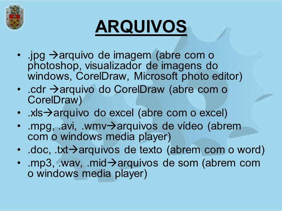 ARQUIVOS.jpg arquivo de imagem (abre com o photoshop, visualizador de imagens do windows, CorelDraw, Microsoft photo editor).cdr arquivo do CorelDraw