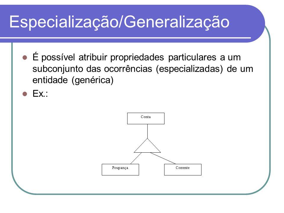 Especialização/Generalização É possível atribuir propriedades particulares a um subconjunto das ocorrências (especializadas) de um entidade (genérica)