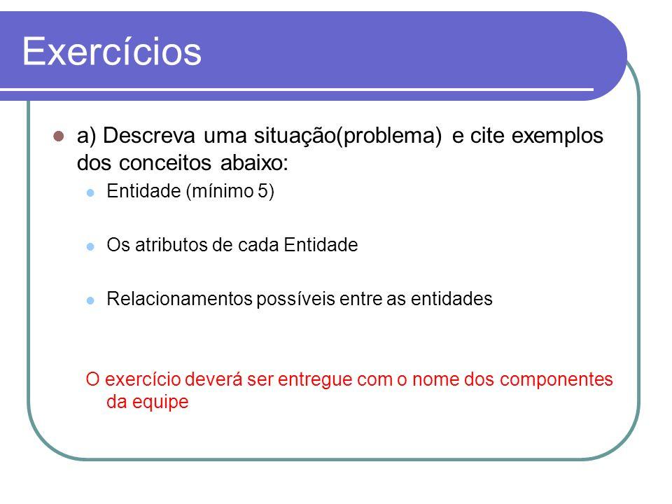 Exercícios a) Descreva uma situação(problema) e cite exemplos dos conceitos abaixo: Entidade (mínimo 5) Os atributos de cada Entidade Relacionamentos