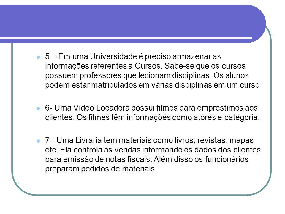 5 – Em uma Universidade é preciso armazenar as informações referentes a Cursos. Sabe-se que os cursos possuem professores que lecionam disciplinas. Os