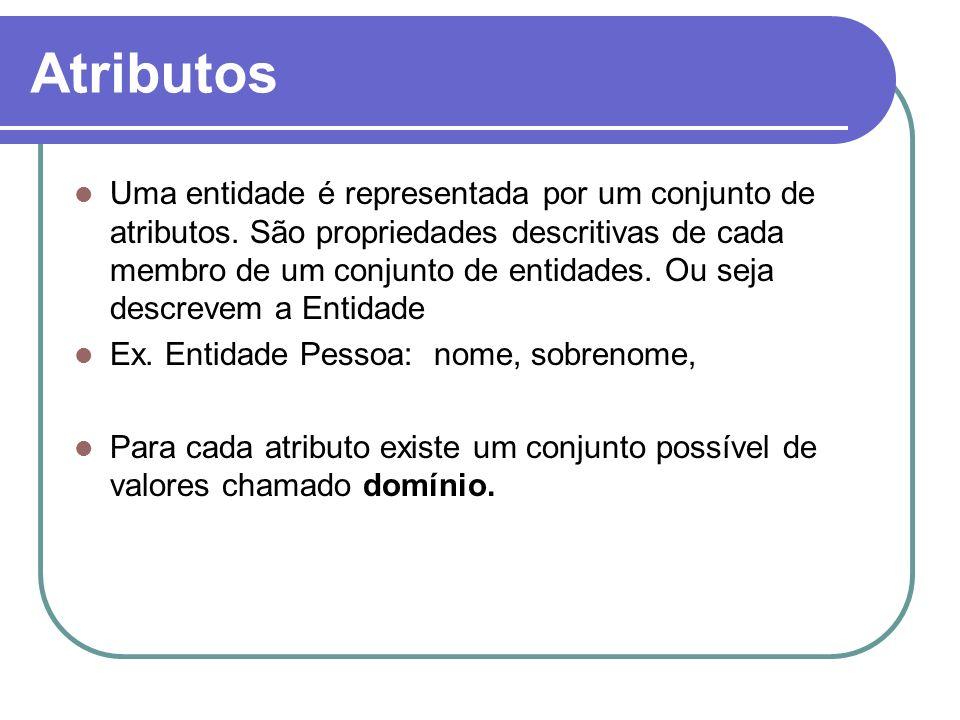 Atributos Uma entidade é representada por um conjunto de atributos. São propriedades descritivas de cada membro de um conjunto de entidades. Ou seja d