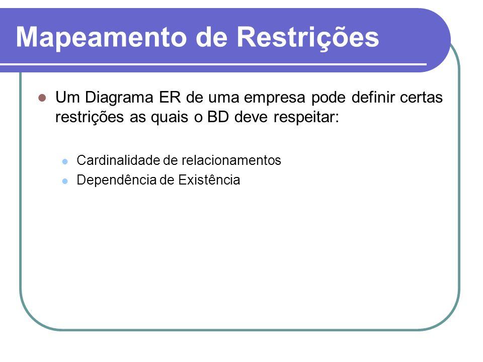 Mapeamento de Restrições Um Diagrama ER de uma empresa pode definir certas restrições as quais o BD deve respeitar: Cardinalidade de relacionamentos D