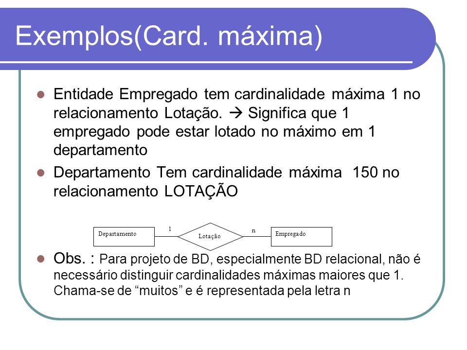 Exemplos(Card. máxima) Entidade Empregado tem cardinalidade máxima 1 no relacionamento Lotação. Significa que 1 empregado pode estar lotado no máximo