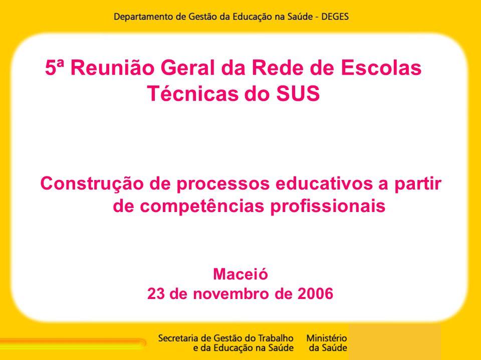 5ª Reunião Geral da Rede de Escolas Técnicas do SUS Construção de processos educativos a partir de competências profissionais Maceió 23 de novembro de