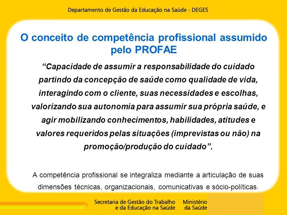 O conceito de competência profissional assumido pelo PROFAE Capacidade de assumir a responsabilidade do cuidado partindo da concepção de saúde como qu