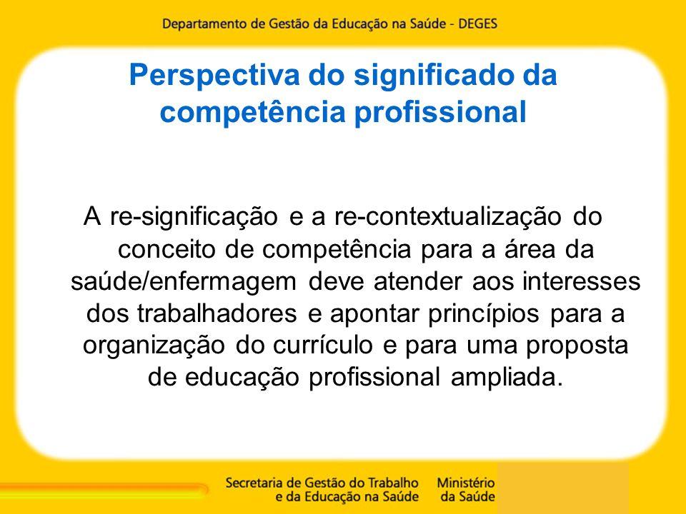 Perspectiva do significado da competência profissional A re-significação e a re-contextualização do conceito de competência para a área da saúde/enfer