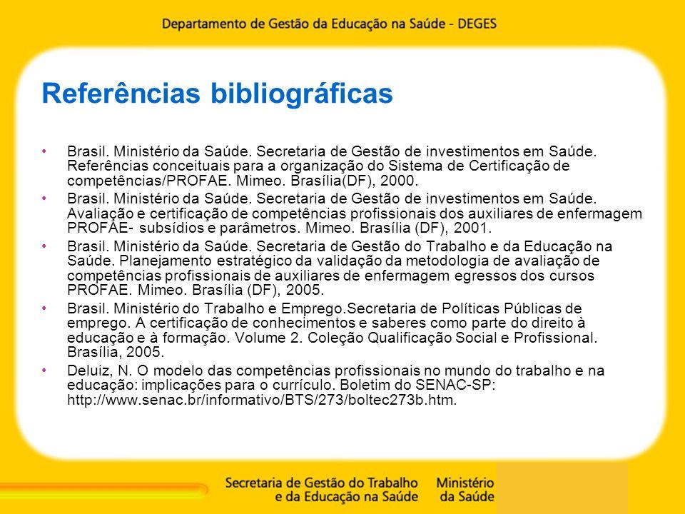 Referências bibliográficas Brasil. Ministério da Saúde. Secretaria de Gestão de investimentos em Saúde. Referências conceituais para a organização do