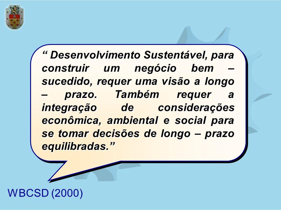 Desenvolvimento Sustentável, para construir um negócio bem – sucedido, requer uma visão a longo – prazo. Também requer a integração de considerações e