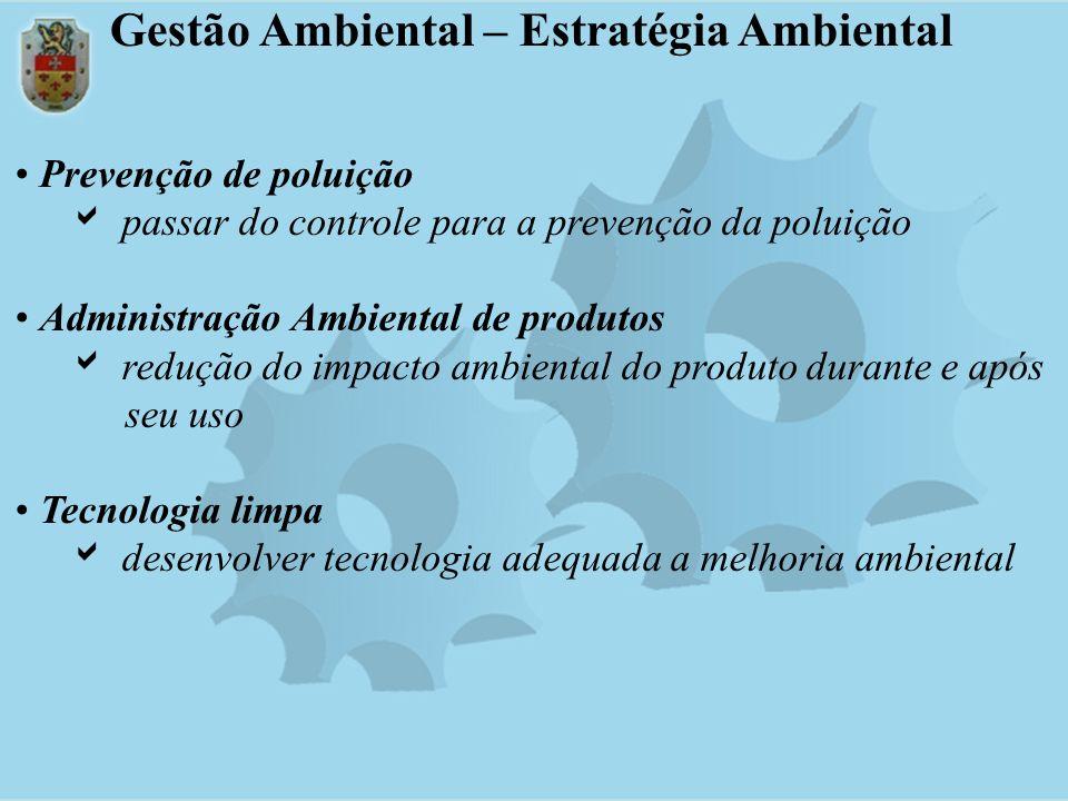 Prevenção de poluição passar do controle para a prevenção da poluição Administração Ambiental de produtos redução do impacto ambiental do produto dura