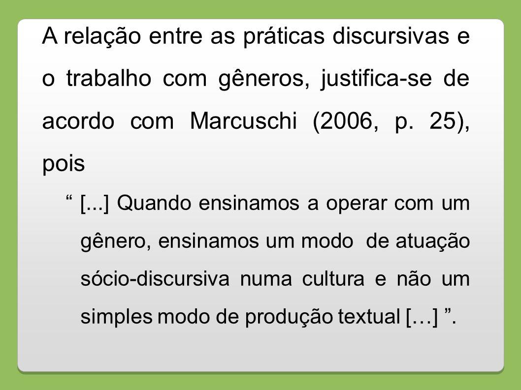 A relação entre as práticas discursivas e o trabalho com gêneros, justifica-se de acordo com Marcuschi (2006, p. 25), pois [...] Quando ensinamos a op
