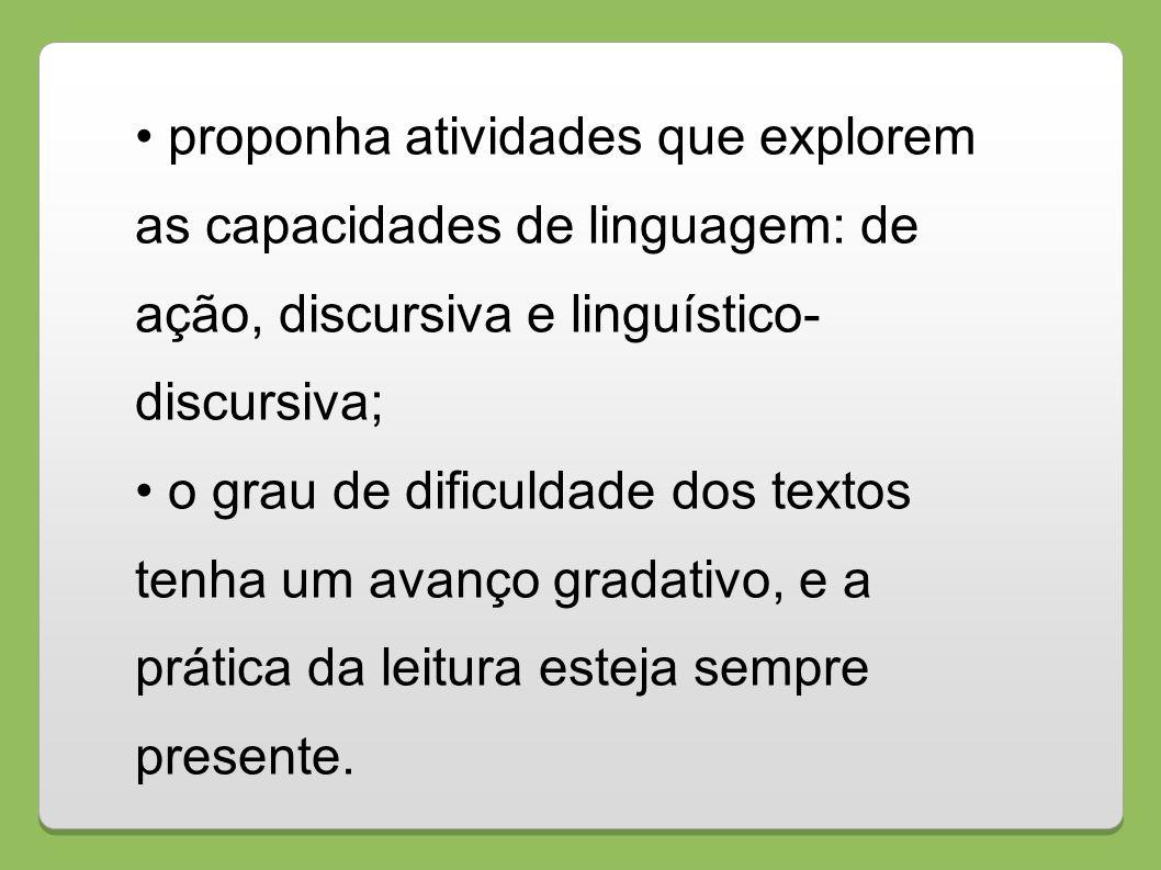 proponha atividades que explorem as capacidades de linguagem: de ação, discursiva e linguístico- discursiva; o grau de dificuldade dos textos tenha um