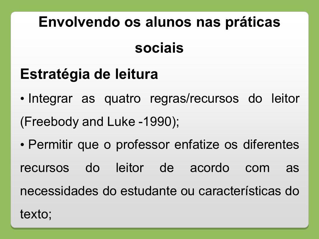 Envolvendo os alunos nas práticas sociais Estratégia de leitura Integrar as quatro regras/recursos do leitor (Freebody and Luke -1990); Permitir que o
