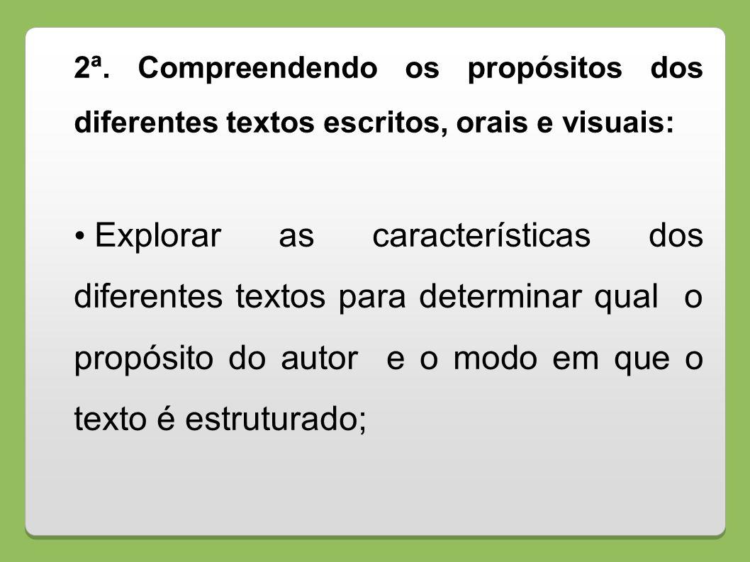 2ª. Compreendendo os propósitos dos diferentes textos escritos, orais e visuais: Explorar as características dos diferentes textos para determinar qua