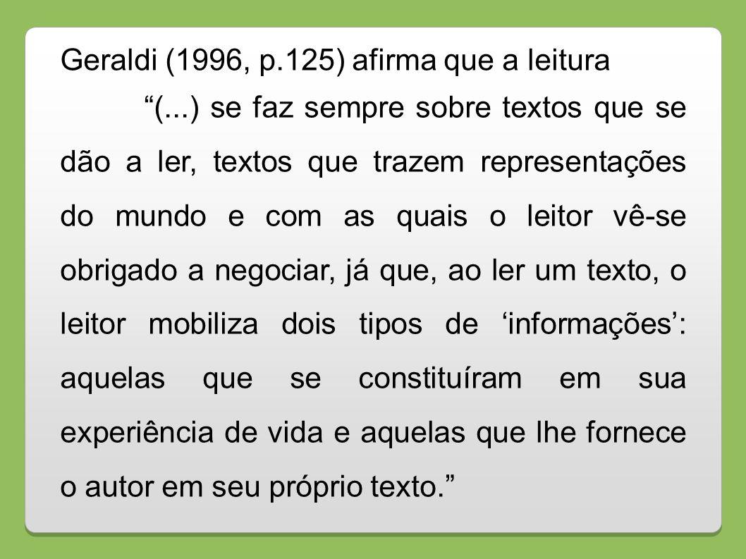 Geraldi (1996, p.125) afirma que a leitura (...) se faz sempre sobre textos que se dão a ler, textos que trazem representações do mundo e com as quais