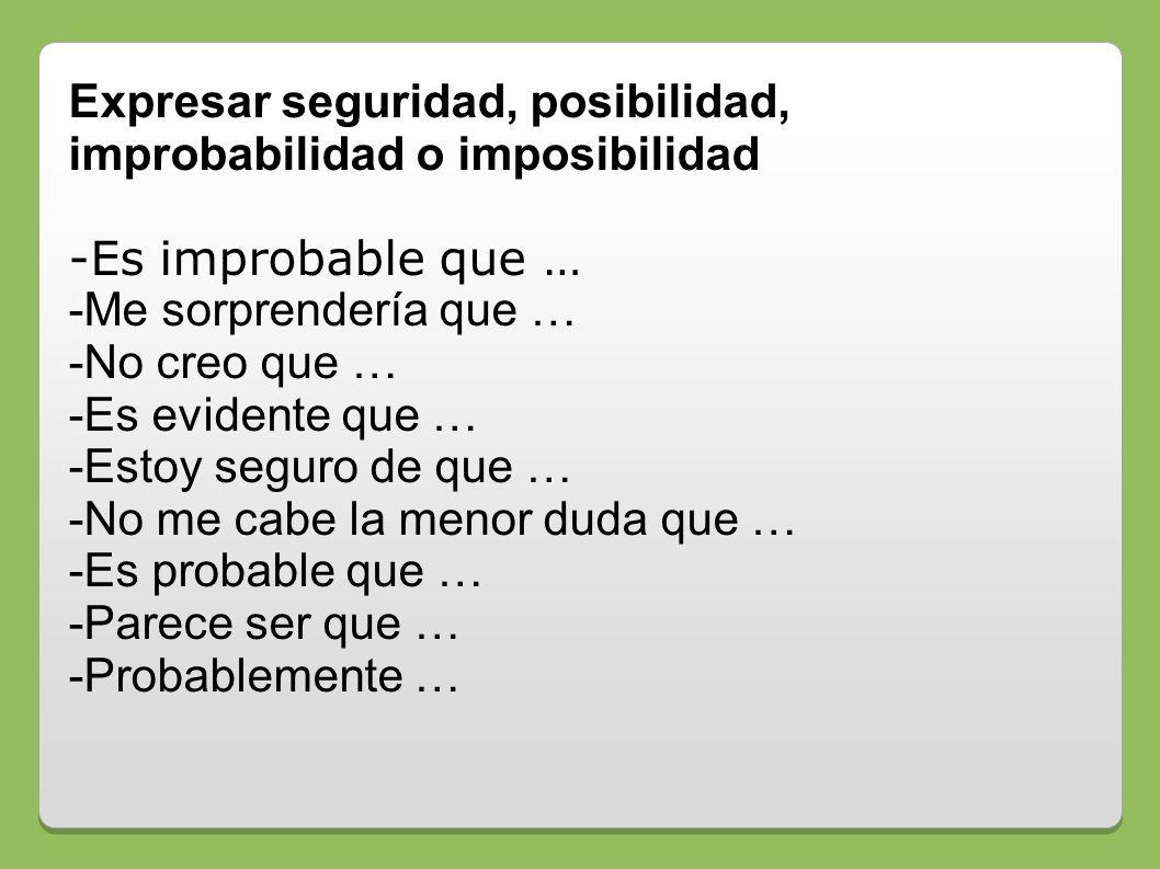 Expresar seguridad, posibilidad, improbabilidad o imposibilidad -Es improbable que … -Me sorprendería que … -No creo que … -Es evidente que … -Estoy s
