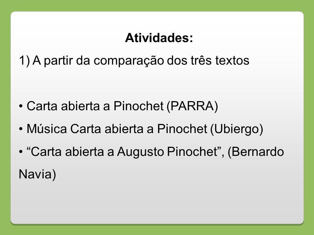 Atividades: 1) A partir da comparação dos três textos Carta abierta a Pinochet (PARRA) Música Carta abierta a Pinochet (Ubiergo) Carta abierta a Augus