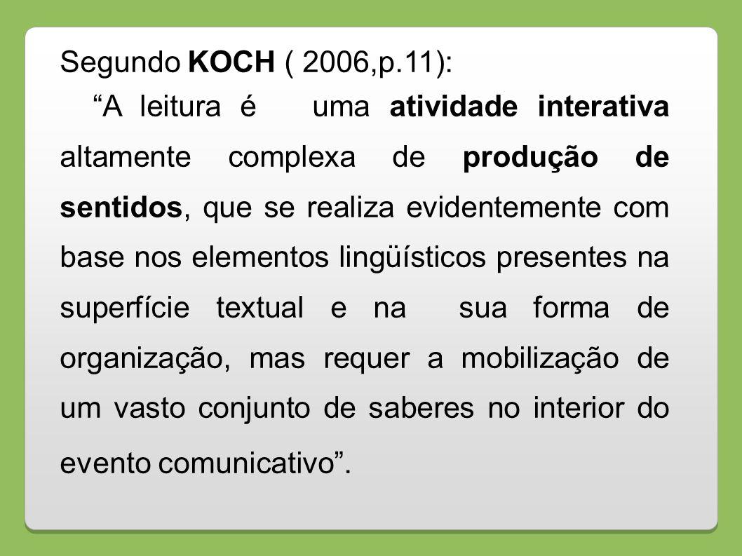 Segundo KOCH ( 2006,p.11): A leitura é uma atividade interativa altamente complexa de produção de sentidos, que se realiza evidentemente com base nos