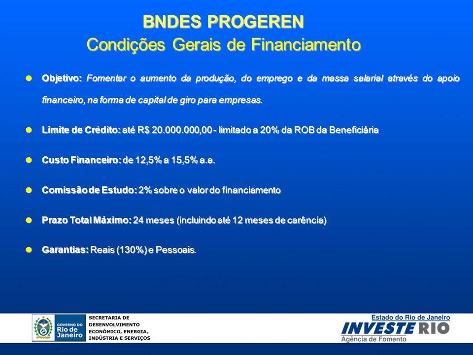 BNDES PROGEREN Condições Gerais de Financiamento Objetivo: Fomentar o aumento da produção, do emprego e da massa salarial através do apoio financeiro, na forma de capital de giro para empresas.