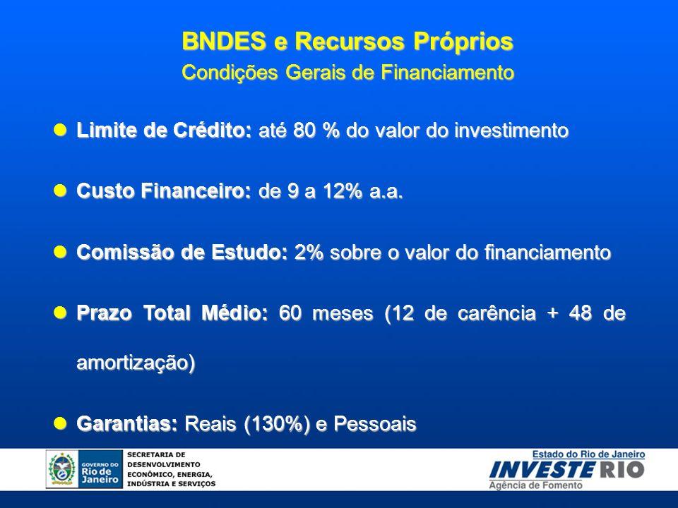 BNDES e Recursos Próprios Condições Gerais de Financiamento Limite de Crédito: até 80 % do valor do investimento Limite de Crédito: até 80 % do valor do investimento Custo Financeiro: de 9 a 12% a.a.