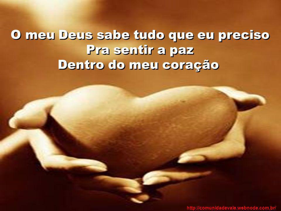 O meu Deus sabe tudo que eu preciso Pra sentir a paz Dentro do meu coração http://comunidadevale.webnode.com.br/
