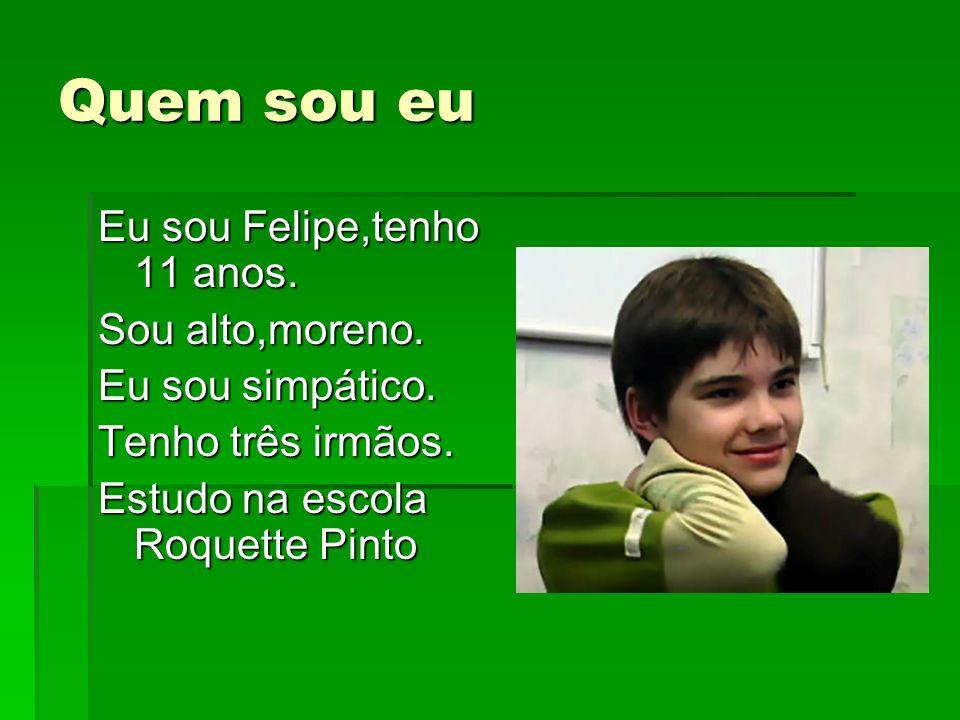 Quem sou eu Eu sou Felipe,tenho 11 anos. Sou alto,moreno. Eu sou simpático. Tenho três irmãos. Estudo na escola Roquette Pinto