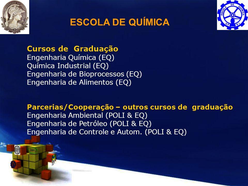 Cursos de Graduação Engenharia Química (EQ) Química Industrial (EQ) Engenharia de Bioprocessos (EQ) Engenharia de Alimentos (EQ) Parcerias/Cooperação