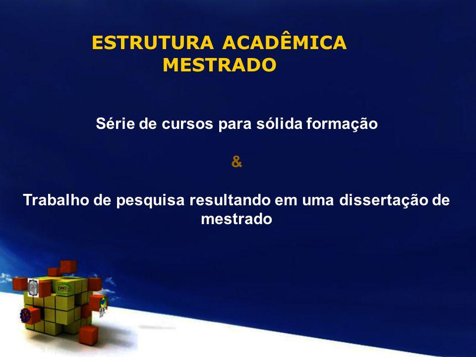 ESTRUTURA ACADÊMICA MESTRADO Série de cursos para sólida formação & Trabalho de pesquisa resultando em uma dissertação de mestrado