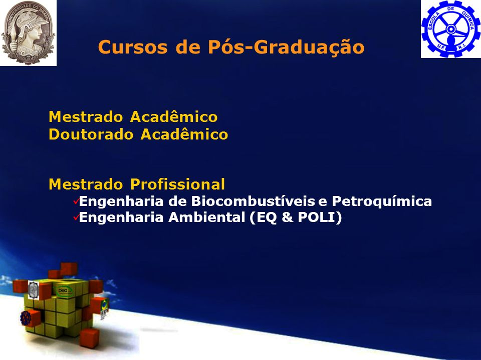 Mestrado Acadêmico Doutorado Acadêmico Mestrado Profissional Engenharia de Biocombustíveis e Petroquímica Engenharia Ambiental (EQ & POLI) Cursos de P