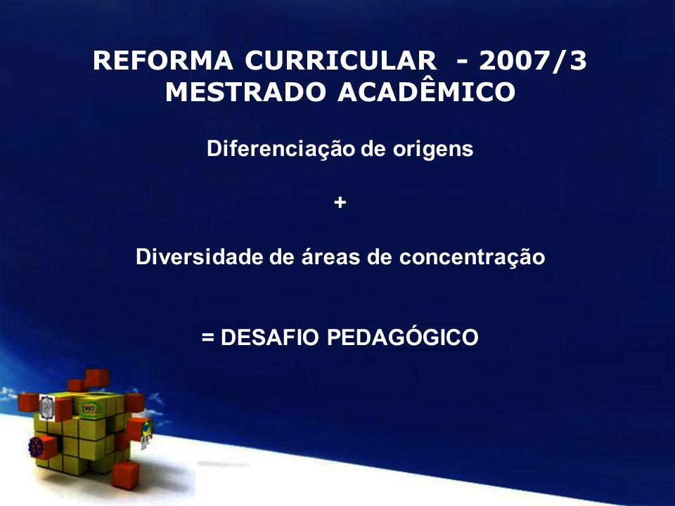REFORMA CURRICULAR - 2007/3 MESTRADO ACADÊMICO Diferenciação de origens + Diversidade de áreas de concentração = DESAFIO PEDAGÓGICO