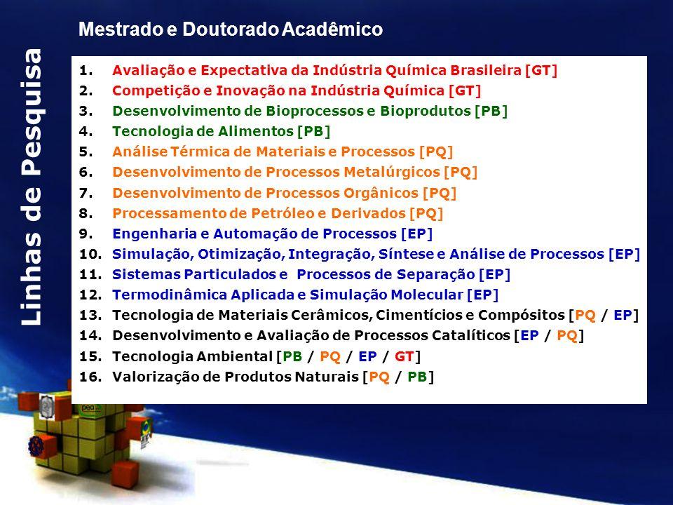 1.Avaliação e Expectativa da Indústria Química Brasileira [GT] 2.Competição e Inovação na Indústria Química [GT] 3.Desenvolvimento de Bioprocessos e B
