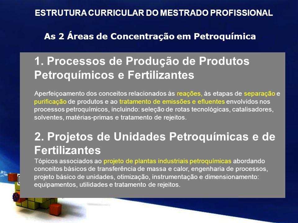 As 2 Áreas de Concentração em Petroquímica 1. Processos de Produção de Produtos Petroquímicos e Fertilizantes Aperfeiçoamento dos conceitos relacionad