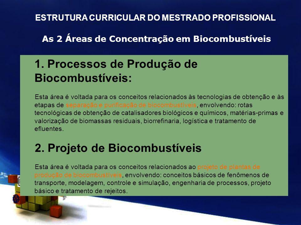 As 2 Áreas de Concentração em Biocombustíveis 1. Processos de Produção de Biocombustíveis: Esta área é voltada para os conceitos relacionados às tecno
