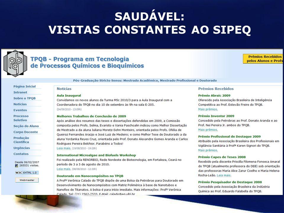 SAUDÁVEL: VISITAS CONSTANTES AO SIPEQ