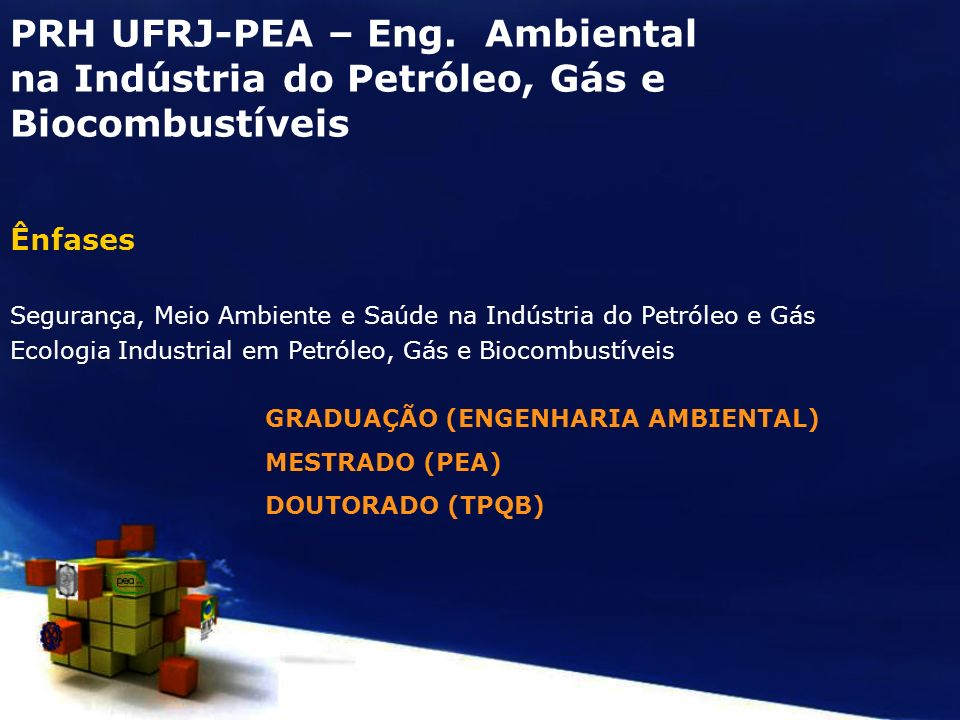 PRH UFRJ-PEA – Eng. Ambiental na Indústria do Petróleo, Gás e Biocombustíveis Ênfases Segurança, Meio Ambiente e Saúde na Indústria do Petróleo e Gás
