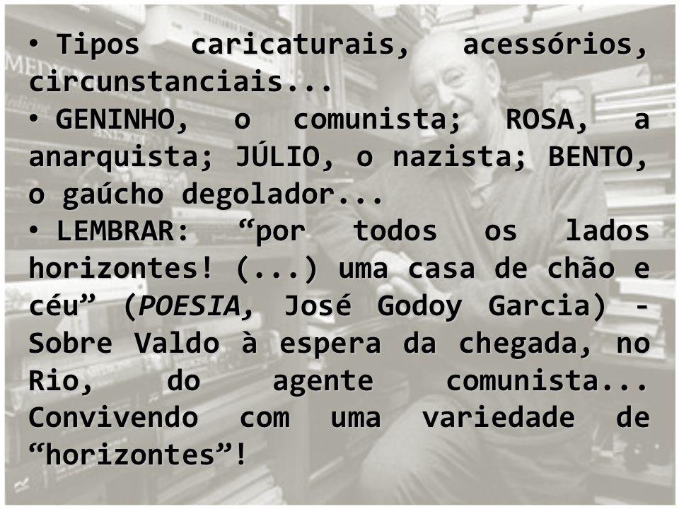 Tipos caricaturais, acessórios, circunstanciais... Tipos caricaturais, acessórios, circunstanciais... GENINHO, o comunista; ROSA, a anarquista; JÚLIO,