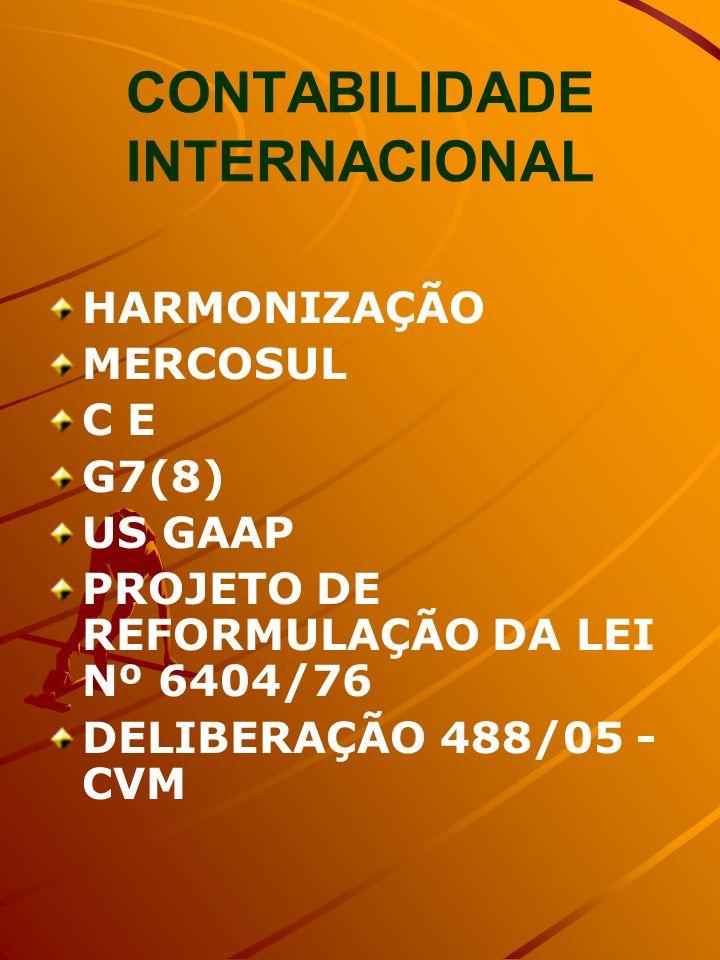 CONTABILIDADE INTERNACIONAL HARMONIZAÇÃO MERCOSUL C E G7(8) US GAAP PROJETO DE REFORMULAÇÃO DA LEI Nº 6404/76 DELIBERAÇÃO 488/05 - CVM