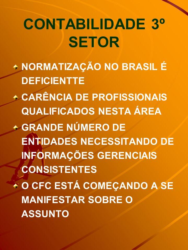 CONTABILIDADE 3º SETOR NORMATIZAÇÃO NO BRASIL É DEFICIENTTE CARÊNCIA DE PROFISSIONAIS QUALIFICADOS NESTA ÁREA GRANDE NÚMERO DE ENTIDADES NECESSITANDO