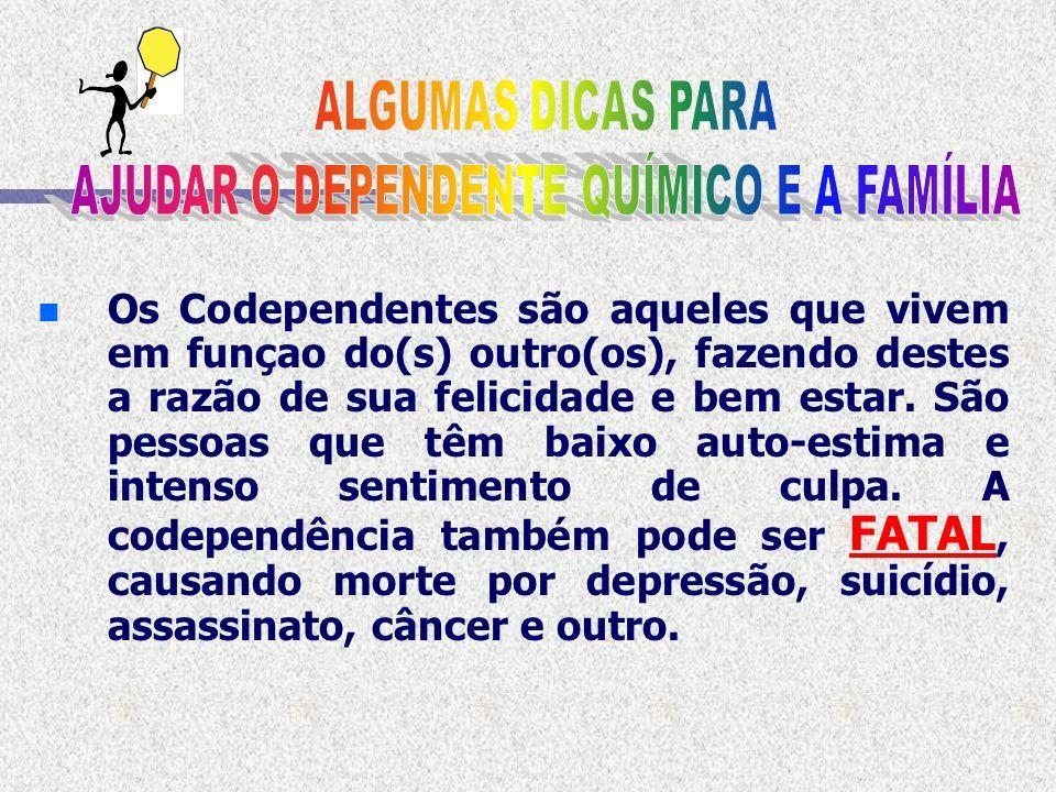 n DIAGNOSTICADA n A Codependência é uma doença emocional que foi DIAGNOSTICADAnos Estados Unidos por volta das década de 70 e 80, em uma clinica para dependentes químicos, através do atendimento a seus familiares.