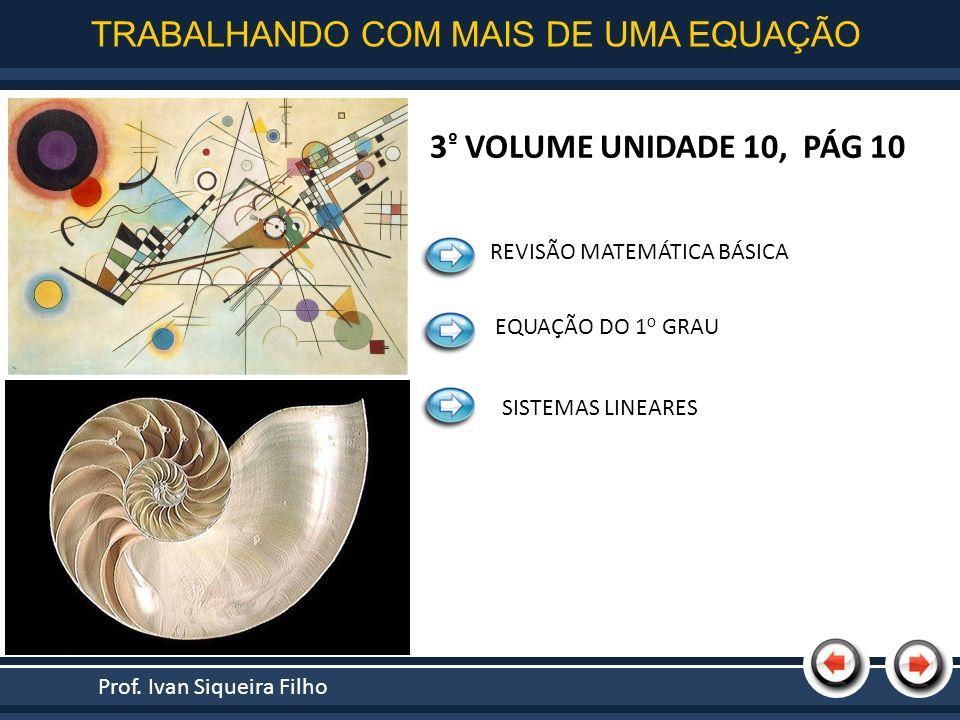 Nome da Apresentação REVISÃO MATEMÁTICA BÁSICA EQUAÇÃO DO 1 o GRAU SISTEMAS LINEARES Prof. Ivan Siqueira Filho TRABALHANDO COM MAIS DE UMA EQUAÇÃO 3 º