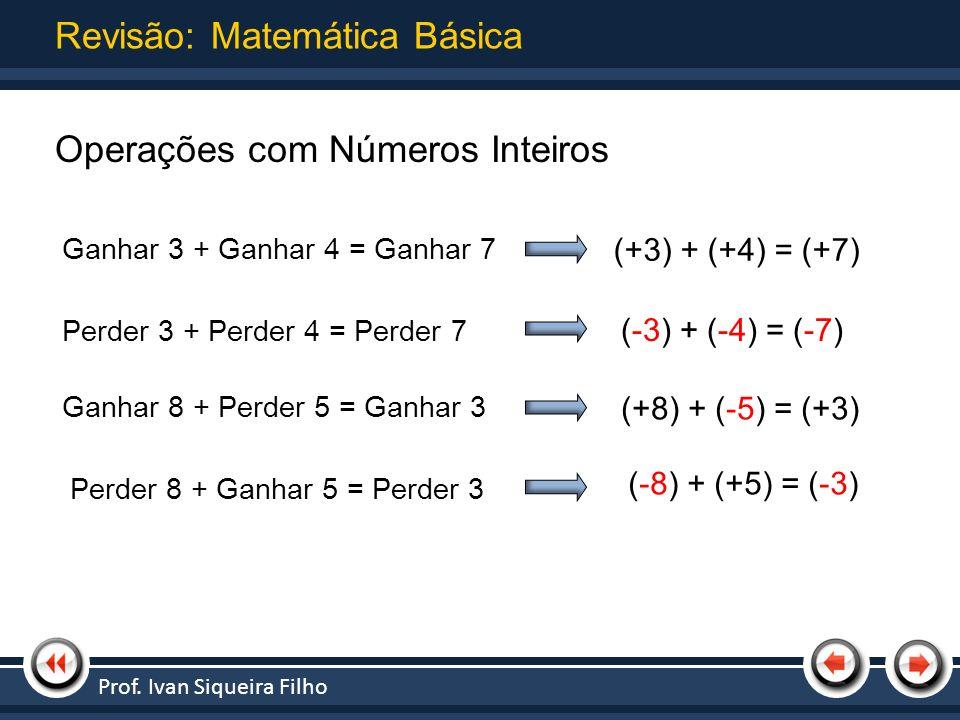 Nome da Apresentação | Tópico 1 Operações com Números Inteiros Revisão: Matemática Básica Ganhar 3 + Ganhar 4 = Ganhar 7 (+3) + (+4) = (+7) Perder 3 +