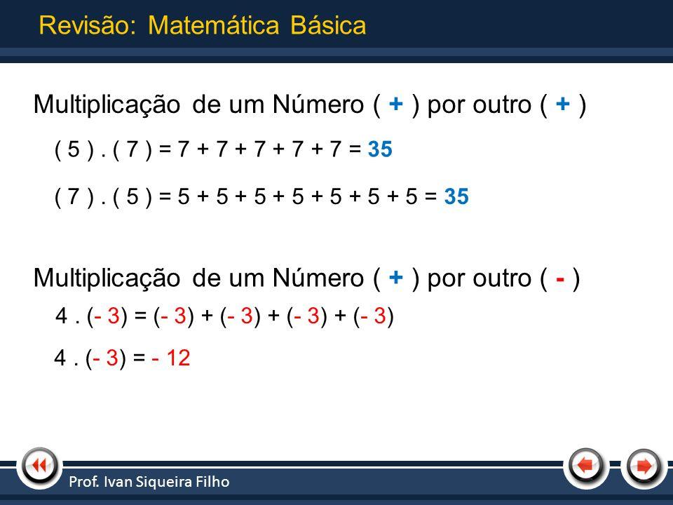 Nome da Apresentação | Tópico 1 Revisão: Matemática Básica Multiplicação de um Número ( + ) por outro ( + ) ( 5 ). ( 7 ) = 7 + 7 + 7 + 7 + 7 = 35 ( 7