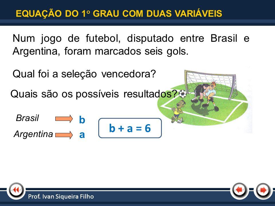 Nome da Apresentação | Tópico 1 EQUAÇÃO DO 1 o GRAU COM DUAS VARIÁVEIS Num jogo de futebol, disputado entre Brasil e Argentina, foram marcados seis go