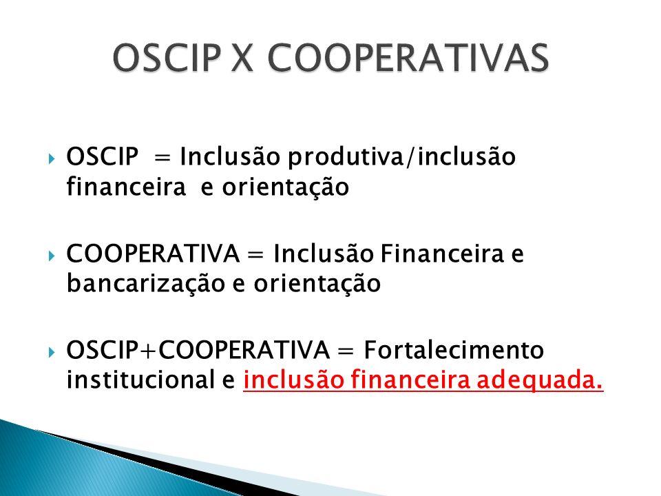 OSCIP = Inclusão produtiva/inclusão financeira e orientação COOPERATIVA = Inclusão Financeira e bancarização e orientação OSCIP+COOPERATIVA = Fortalec