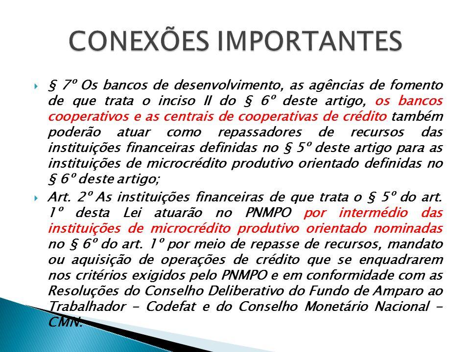 § 7º Os bancos de desenvolvimento, as agências de fomento de que trata o inciso II do § 6º deste artigo, os bancos cooperativos e as centrais de coope