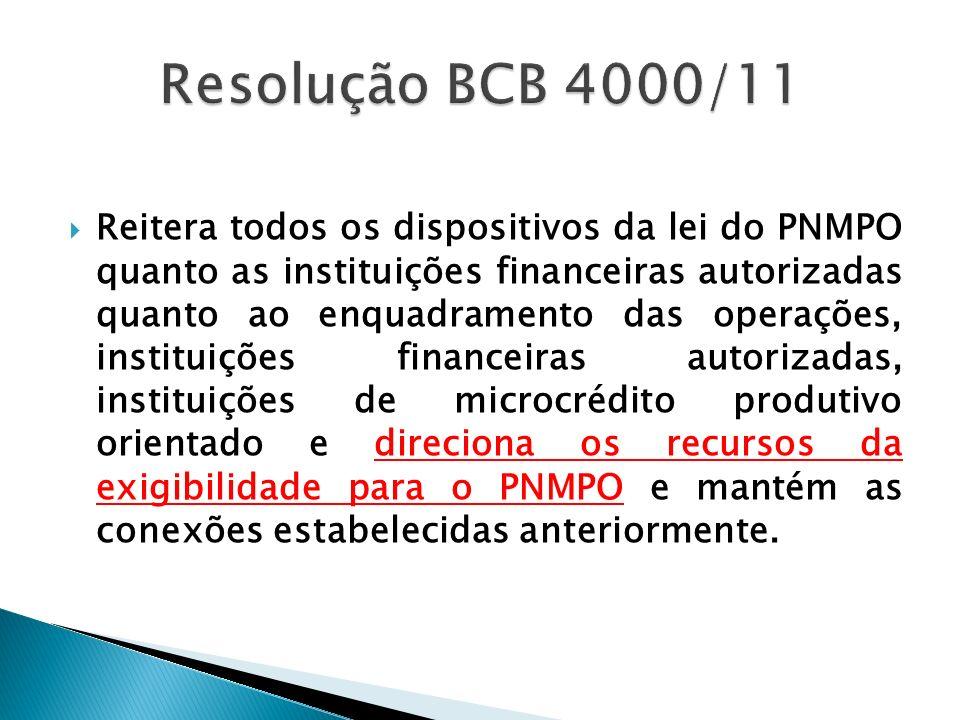 Reitera todos os dispositivos da lei do PNMPO quanto as instituições financeiras autorizadas quanto ao enquadramento das operações, instituições finan