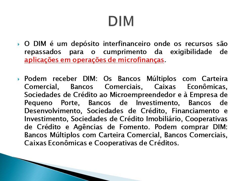 O DIM é um depósito interfinanceiro onde os recursos são repassados para o cumprimento da exigibilidade de aplicações em operações de microfinanças. P