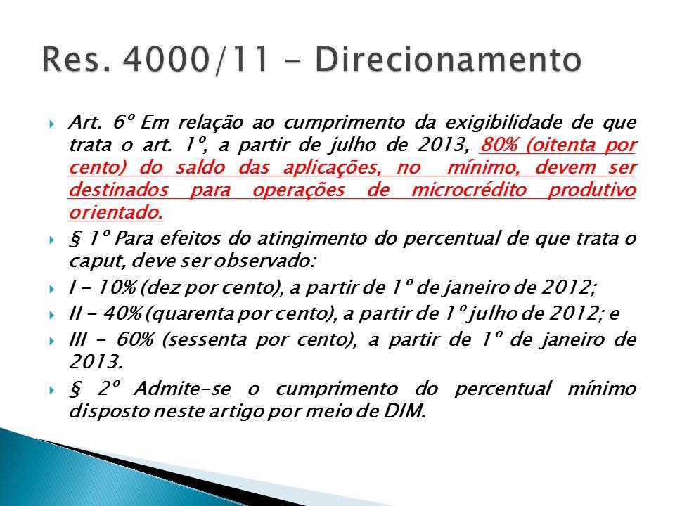 Art. 6º Em relação ao cumprimento da exigibilidade de que trata o art. 1º, a partir de julho de 2013, 80% (oitenta por cento) do saldo das aplicações,