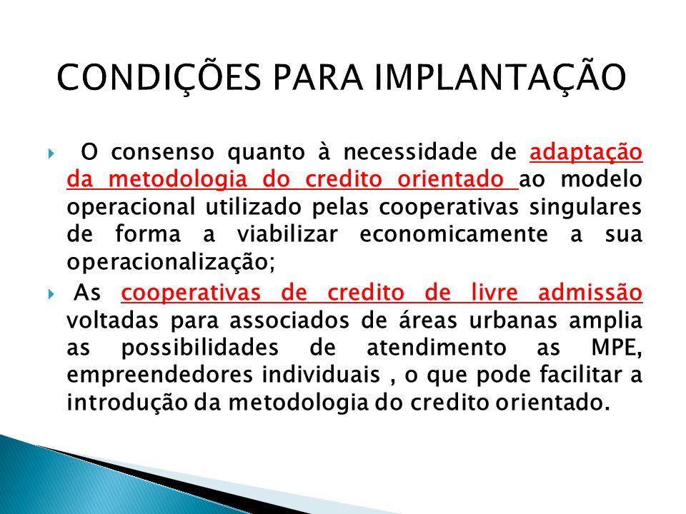 O consenso quanto à necessidade de adaptação da metodologia do credito orientado ao modelo operacional utilizado pelas cooperativas singulares de form