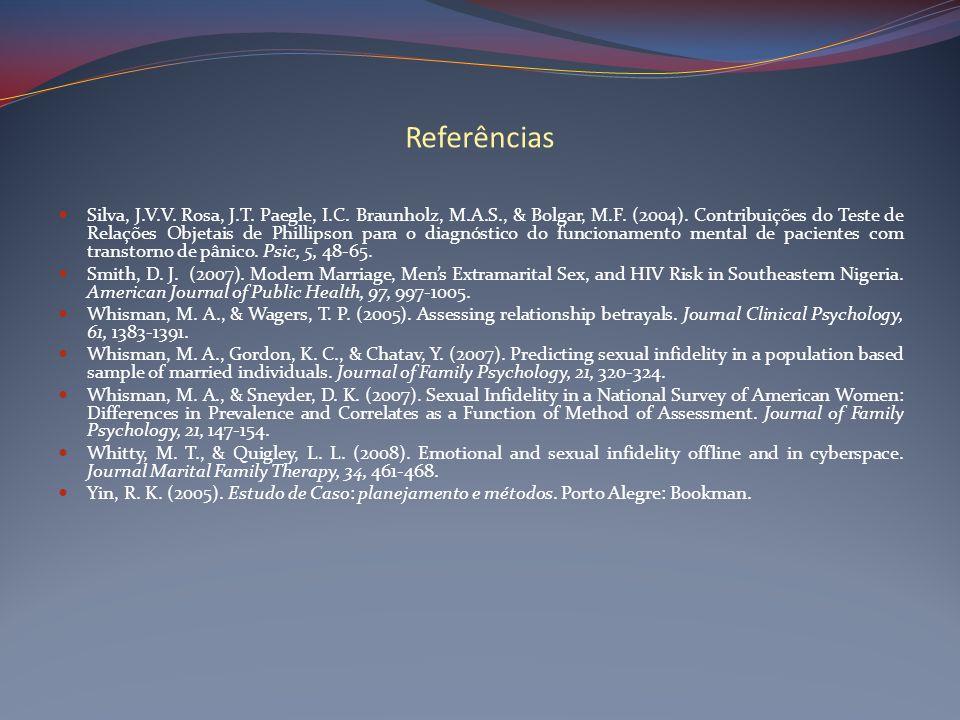 Referências Silva, J.V.V. Rosa, J.T. Paegle, I.C. Braunholz, M.A.S., & Bolgar, M.F. (2004). Contribuições do Teste de Relações Objetais de Phillipson