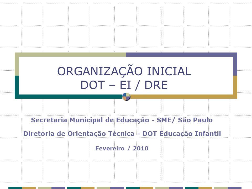ORGANIZAÇÃO INICIAL DOT – EI / DRE Secretaria Municipal de Educação - SME/ São Paulo Diretoria de Orientação Técnica - DOT Educação Infantil Fevereiro